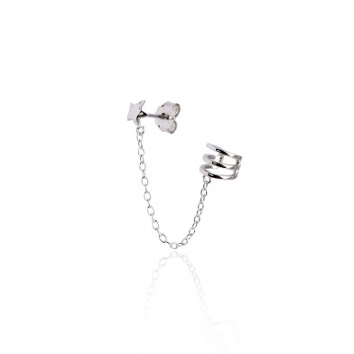 Ear cuff Mini star chain Plata