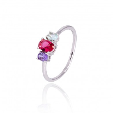 Anillo Triple colour Plata