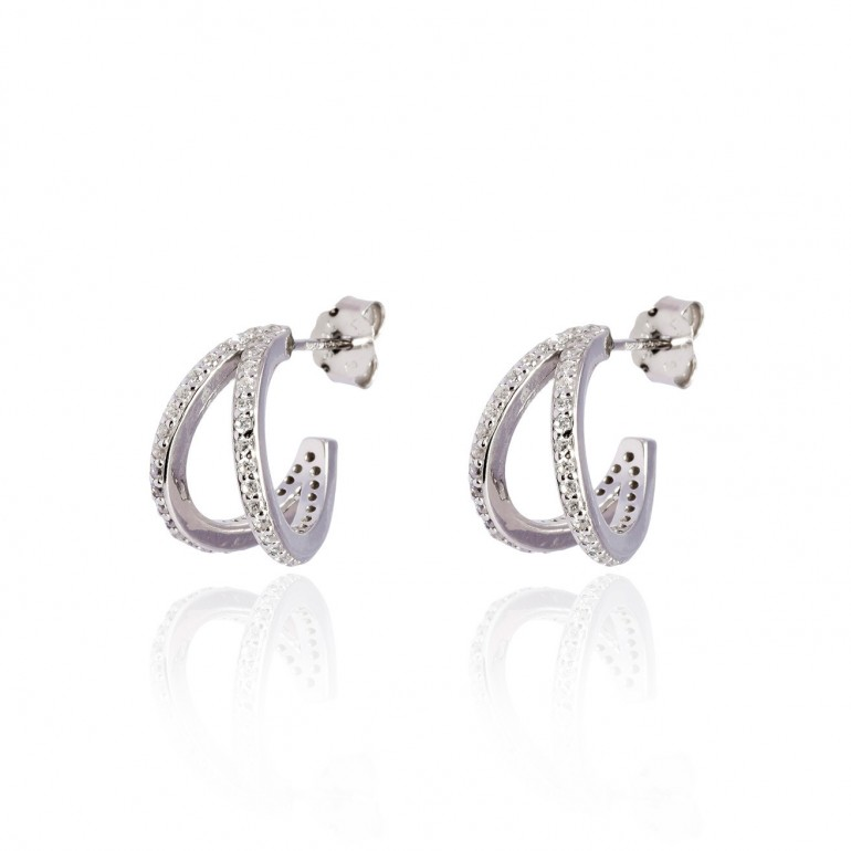 Pendientes doble ring Plata