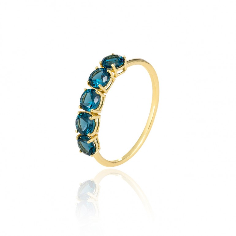 Anillo oro amarillo Blue Light